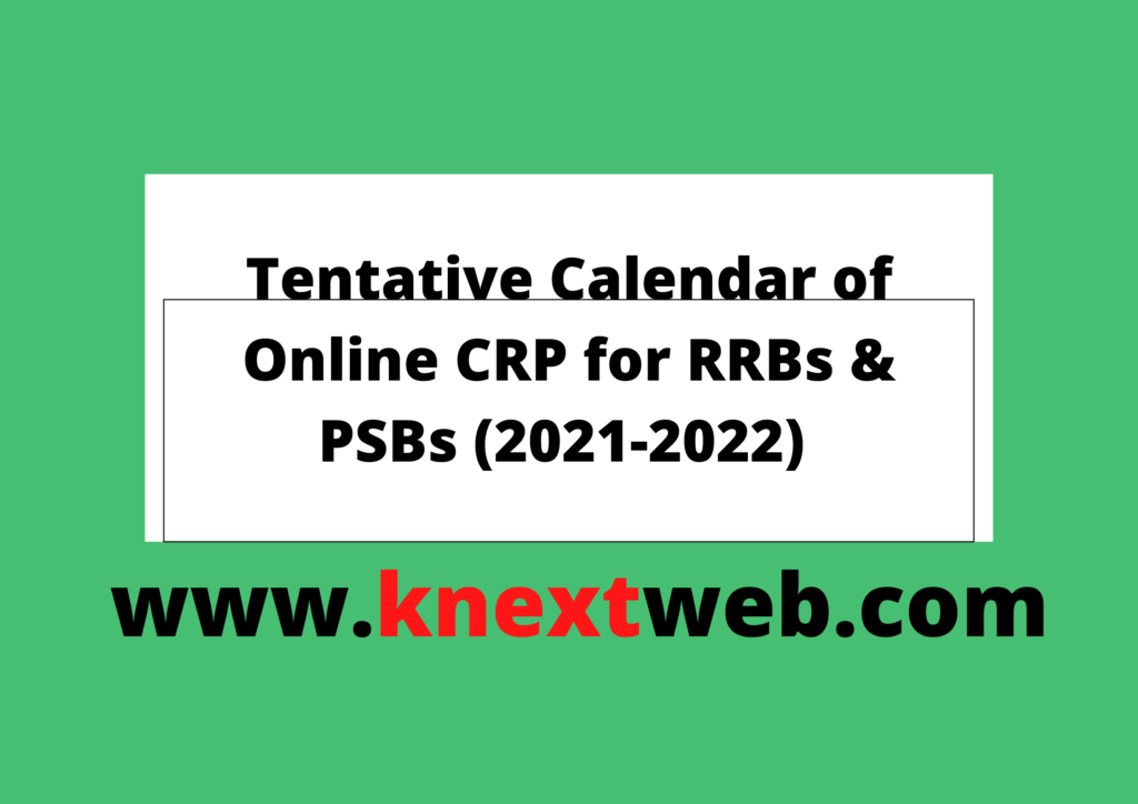 calendar for online crp for RRB &Psb 2021-22